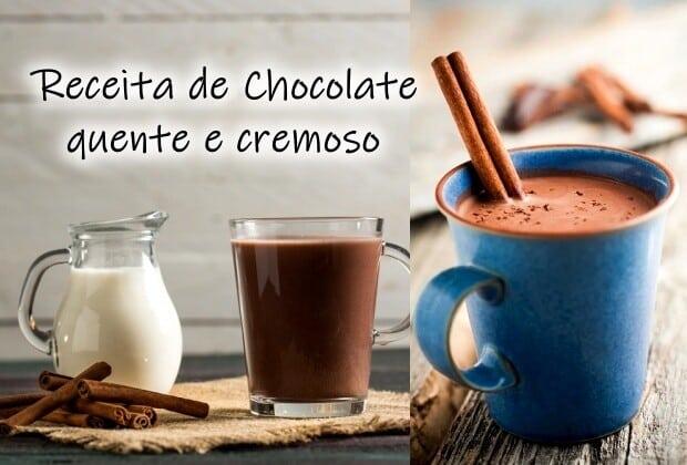 Receita de chocolate quente e cremoso