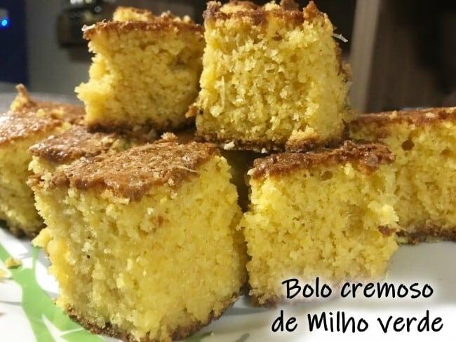 Bolo Cremoso de Milho Verde: textura úmida e macia