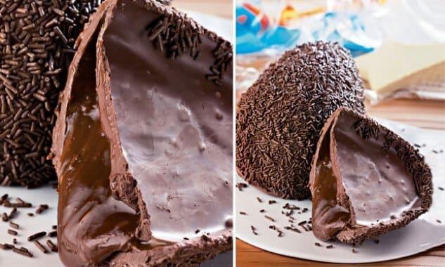 Coloque a ganash e mais uma camada de chocolate. Prepare um delicioso ovo recheado para a páscoa. (Foto: Divulgação)