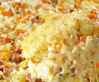 arroz de forno com presunto e queijo