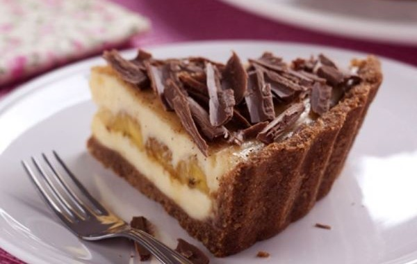 Cheesecake de chocolate com banana