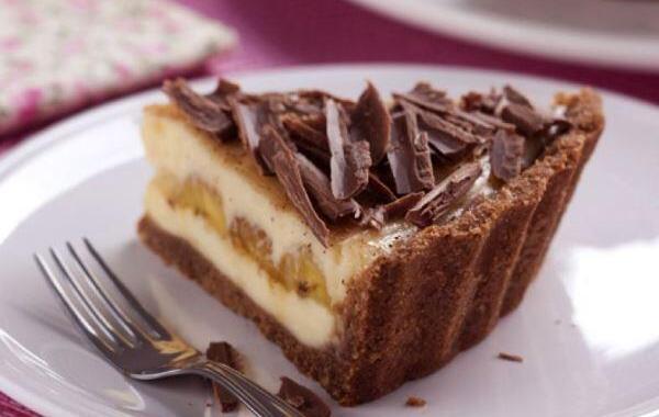 Cheesecake de chocolate com banana
