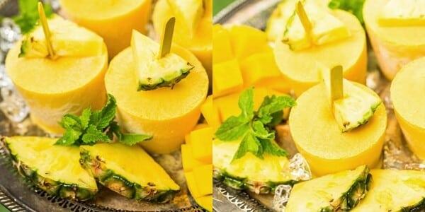 Picolé detox de abacaxi