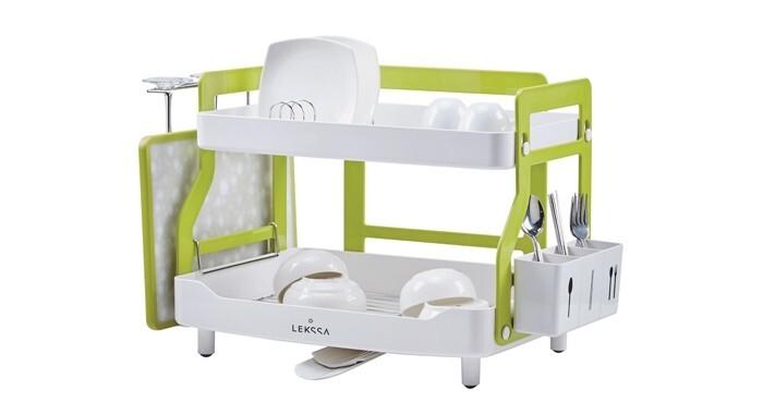 Escorredor de louça 2 andares Lekssa branco e verde