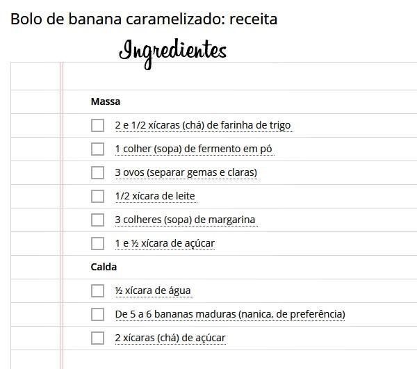 bolo de banana caramelizado ingredientes