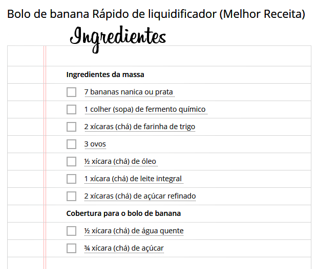 bolo de banana ingredientes
