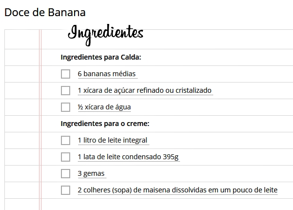 doce de banana ingredientes