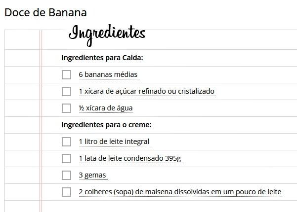 doce de banana ingredientes