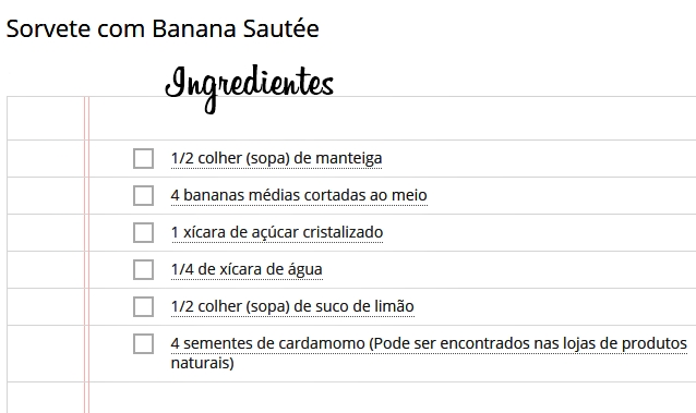 sorvete com banana sautée ingredientes