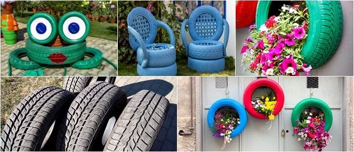 Recicle pneus para decoração