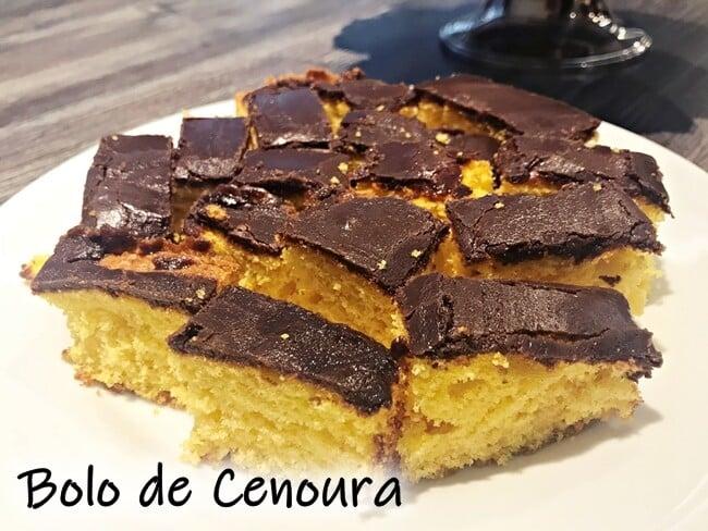 Bolo de Cenoura com cobertura de chocolate simples e fácil de fazer