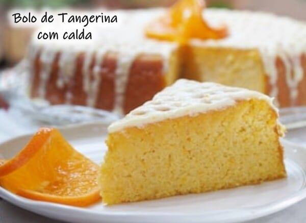 Bolo de tangerina com calda
