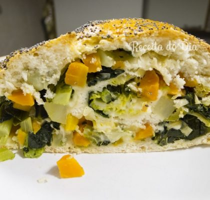 Receita de Pão recheado com legumes