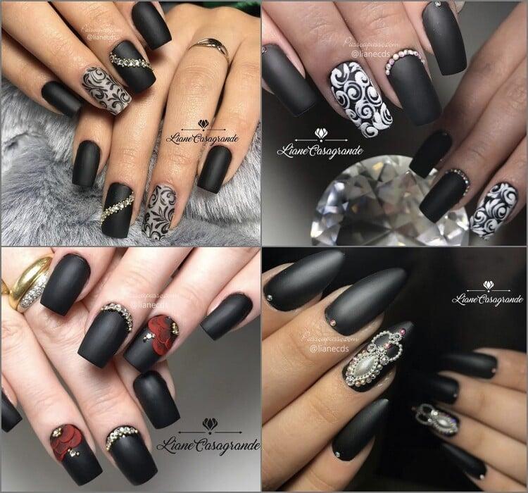 Unhas decoradas de preto