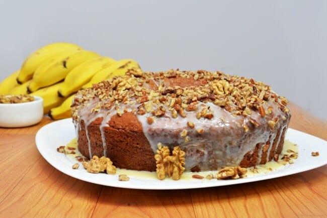 Receita de bolo de banana com nozes