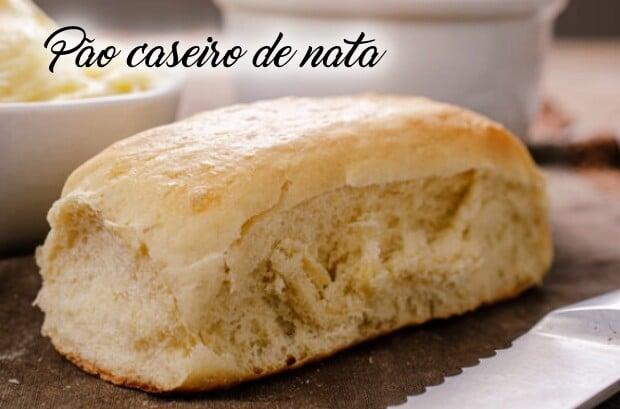 Pão caseiro de Nata fofinho, saboroso e perfeito para o seu lanche